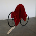 Bicycle wheels, wood, matador cape